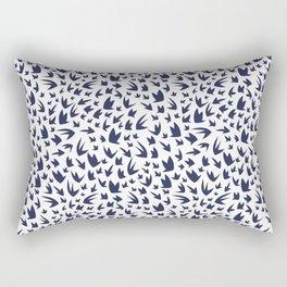 Navy Abstract Flying Birds Rectangular Pillow