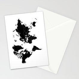 Minimalist World Map Black on White Background Stationery Cards
