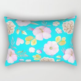 Artist hand painted pink lavender teal watercolor floral Rectangular Pillow