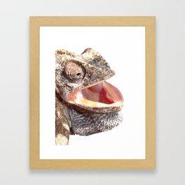 Chameleon with Happy Smiling Expression Vector Framed Art Print