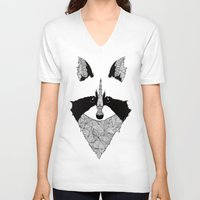 raccoon V-neck T-shirts featuring Raccoon by Art & Be