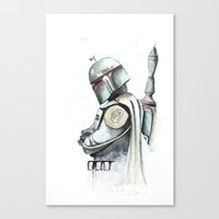 boba fett Canvas Prints featuring BOBA FETT by digiartpicture