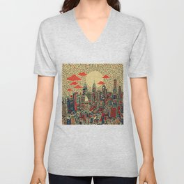 philadelphia city skyline Unisex V-Neck