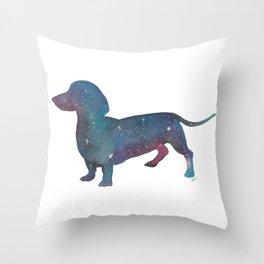 Galaxy Dachshund Throw Pillow