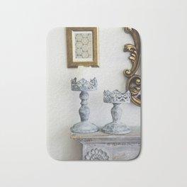 grey iron carved candlesticks Bath Mat
