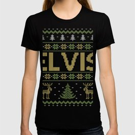 Mens Elvis Ugly Christmas Sweater Elvis thing T-shirt