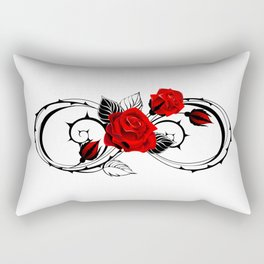 Infinity outline symbol with rose Rectangular Pillow