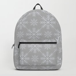 Snowflakes on Gray Backpack