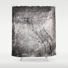 Black and White Grass Shadows on Stone Shower Curtain