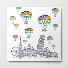 Travel with Air Balloons Metal Print