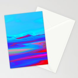 """""""Pixel Beach"""" (Ice Blue/Red) Digital Painting // Fine Art Print Stationery Cards"""