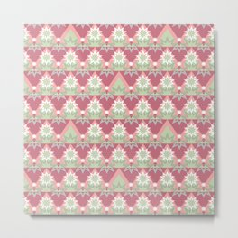 Pale pink abstract striped ornament . Metal Print