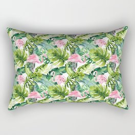 Pink green watercolor flamingo tropical monster leaves Rectangular Pillow