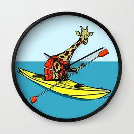 Giraffe Sea Kayaking Wall Clock
