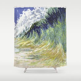 Surf's Up Big Wave Juul Art Shower Curtain