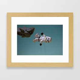 Escaping a Shark Framed Art Print