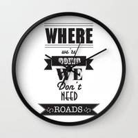 back to the future Wall Clocks featuring back to the future by christopher-james robert warrington
