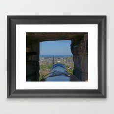 Edinburgh castle city view from Cannon pov (point of view ) Framed Art Print