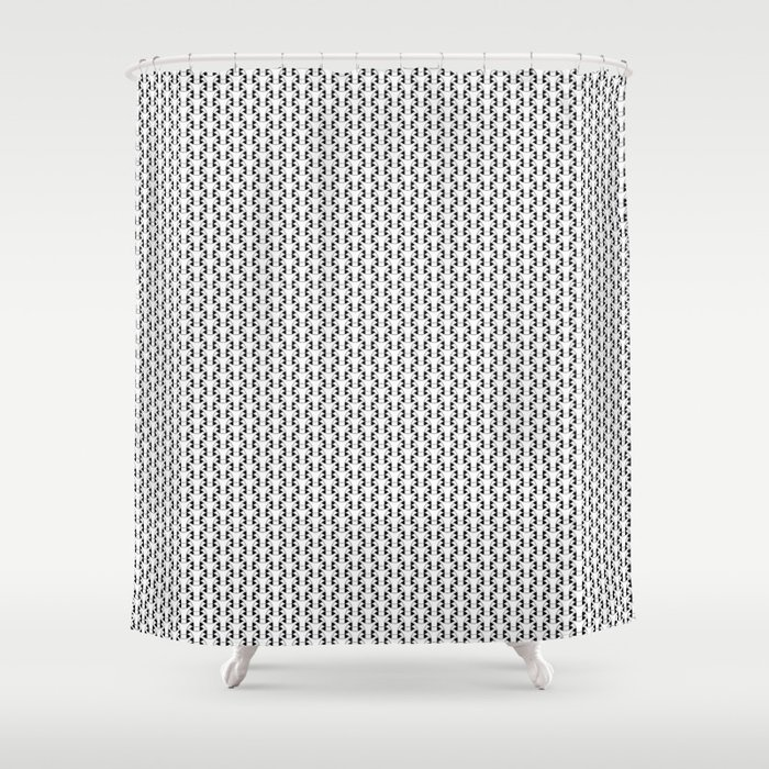 Black and White Basket Weave Shape Pattern 2 - Graphic Design Shower Curtain