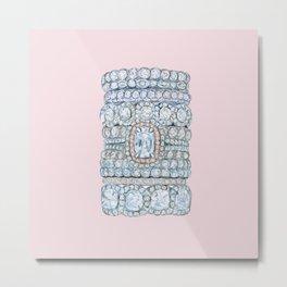 Diemond Rings on Light Pink Metal Print
