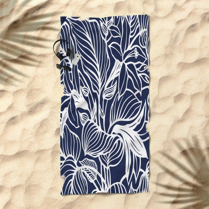Indigo Navy Blue Floral Beach Towel