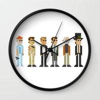 bill murray Wall Clocks featuring Bill F*ckin' Murray by Tom Quayle