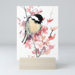 Chickadee and Cherry Blossom Mini Art Print