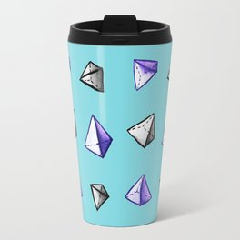 Blue Geometric Watercolor Pyramid Pattern Travel Mug
