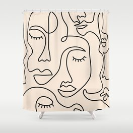 Abstract Single Line Face  Shower Curtain