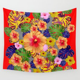 TROPICAL FLOWERS & LEAVES RED ART Wall Tapestry