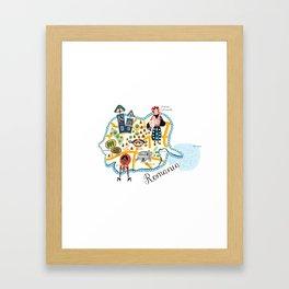 Romania Map Framed Art Print