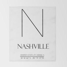 NASHVILLE City GPS Coordinates Throw Blanket