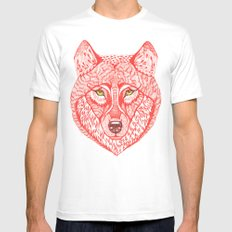 Red wolf MEDIUM White Mens Fitted Tee