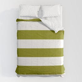 Olive - solid color - white stripes pattern Comforters
