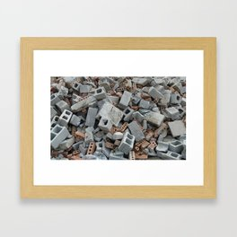 Bricks and Blocks Demolition Rubble Debris Framed Art Print