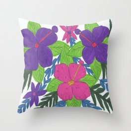 Tropical Hibiscus Bouquet Throw Pillow