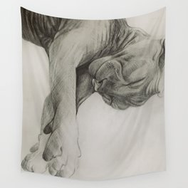 Pencil drawing kitten sphinx, graphic art Wall Tapestry
