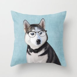 Mr Husky Throw Pillow