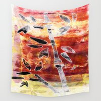 bamboo Wall Tapestries featuring bamboo by Kras Arts - Fly Me To The Moon