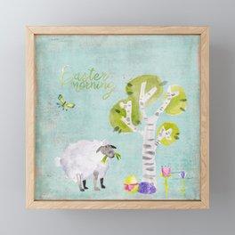 Easter Morning- Animal Sheep - for children Framed Mini Art Print