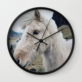 White Horse in Iceland Wall Clock