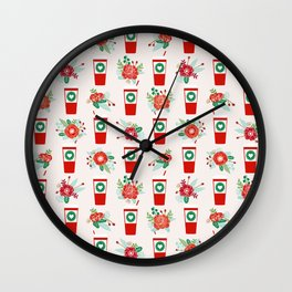 Coffee holiday cups floral bouquet flowers coffees cafe basic art Wall Clock