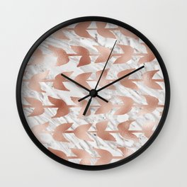 Rose gold vines on marble Wall Clock