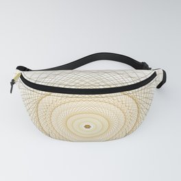 Golden geometry on white Fanny Pack