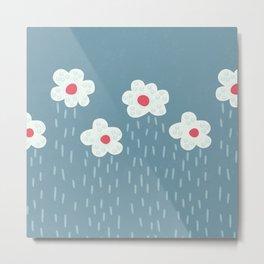 Rainy Flowery Clouds Metal Print