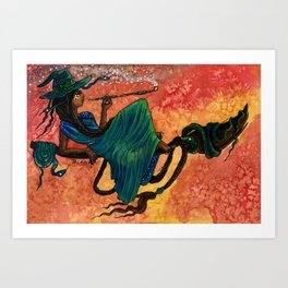 Flying Snake Witch Art Print