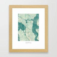 Seattle Map Blue Vintage Framed Art Print
