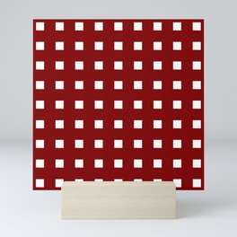 square and tartan 5 red and white Mini Art Print