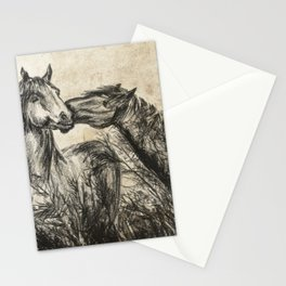 Kiss_Charcoal drawing vintage paper Stationery Cards