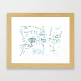 Skaneateles, New York Illustrated Calligraphy Print Framed Art Print